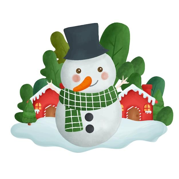 Kartki świąteczne Z Bałwanem W Kolorze Wody W Lesie. Premium Wektorów