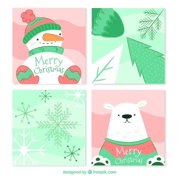 Kartki świąteczne z pięknym stylem Darmowych Wektorów