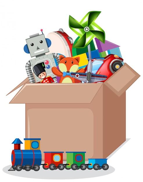 Karton Pełno Zabawki Odizolowywać Darmowych Wektorów