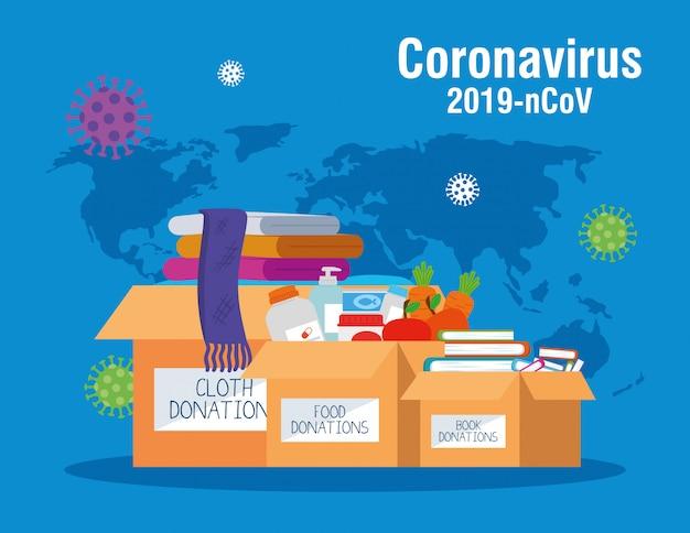 Kartonowe Pudełka Na Datki, Opieka Społeczna, Podczas Koronawirusa Premium Wektorów