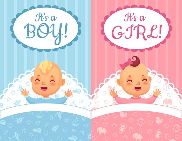 Karty Baby Shower. Jego Etykieta Chłopiec I Dziewczynka, Zestaw Ilustracji Cute Baby Cartoon. Premium Wektorów