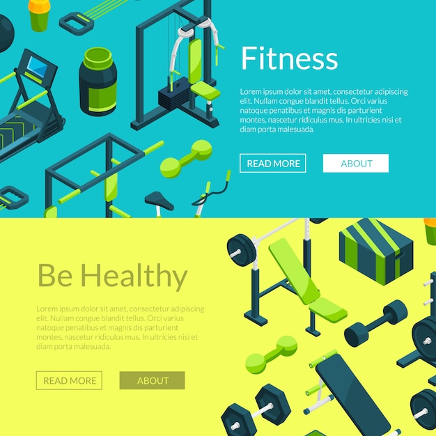 Karty klubów fitness i siłowych. szablon transparent izometryczny siłowni wektor Premium Wektorów
