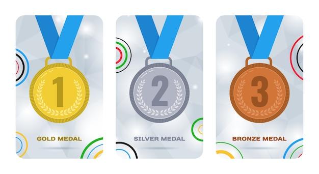 Karty Olimpijskie Ze Złotymi, Srebrnymi I Brązowymi Medalami Premium Wektorów