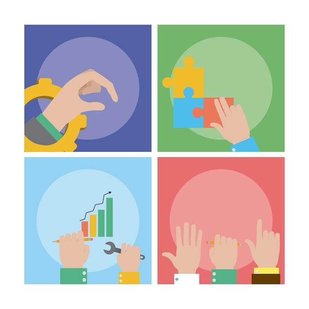 Karty Pracy Zespołowej I Wsparcia Premium Wektorów