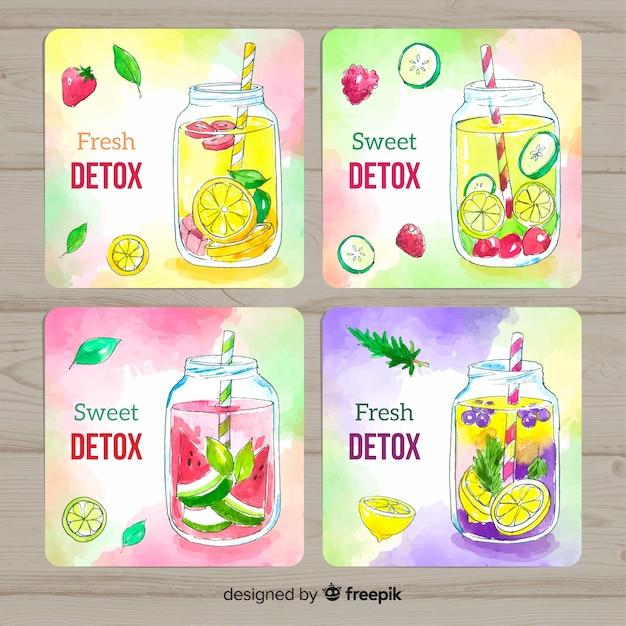 Karty soków owocowych z detoksem akwarelowym Darmowych Wektorów