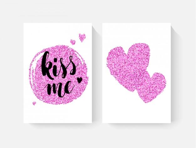 Karty walentynkowe z wytłoczeniem dłoni i różowym brokatem Premium Wektorów