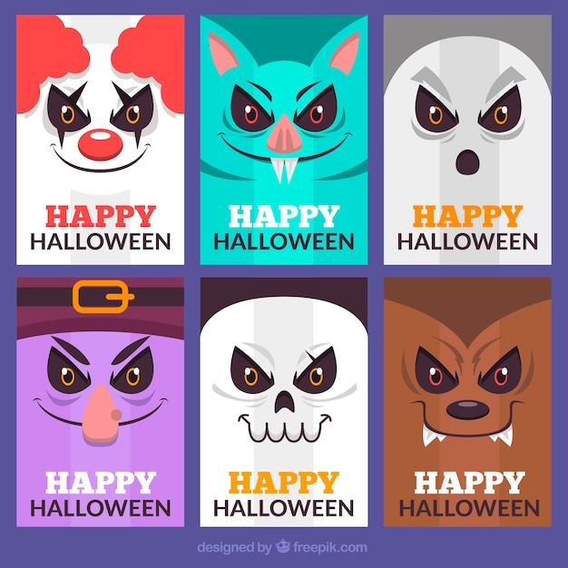 Karty z halloween z creepy twarze Darmowych Wektorów