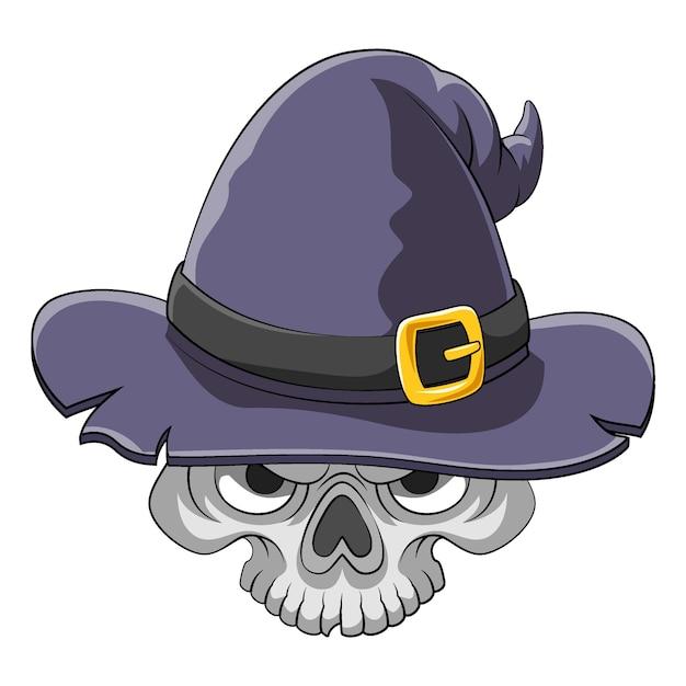 Karykatura Przedstawiająca Straszną Czaszkę Głowy Używającą Starego Kapelusza Wiedźmina Jako Inspiracji Książkowej Premium Wektorów