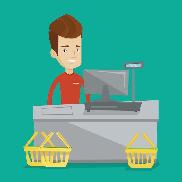 Kasjer Pozycja Przy Kasie W Supermarkecie. Premium Wektorów