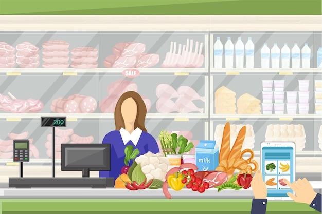 Kasjer W Supermarkecie Premium Wektorów