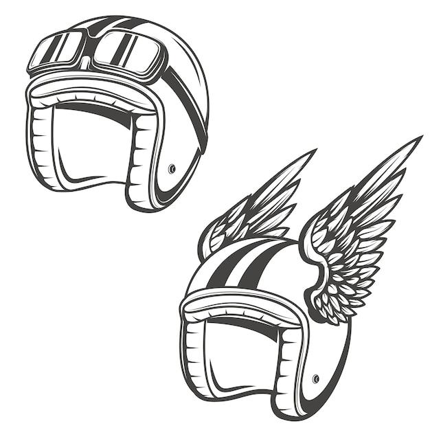 Kask Baker Ze Skrzydłami. Element Logo, Etykiety, Godła, Znaku, Plakatu, Koszulki. Premium Wektorów