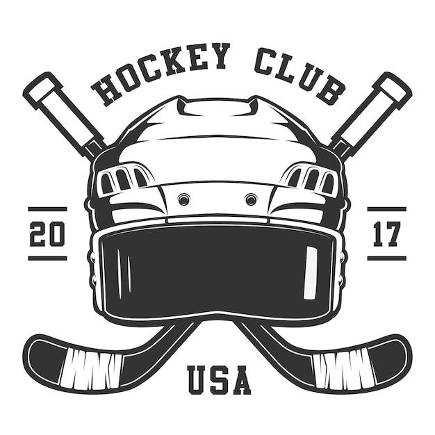Kask Hokejowy Na Białym Tle. Tekst Znajduje Się Na Warstwie Seprate. Premium Wektorów