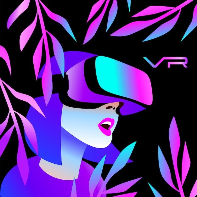 Kask vr do symulacji kosmosu i gier cyfrowych Premium Wektorów