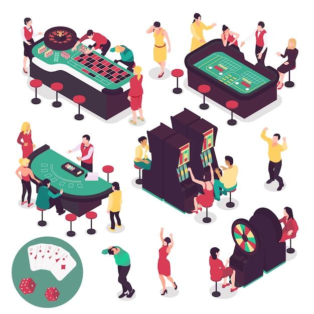 Kasyno I Hazard Izometryczny Zestaw Z Wygrywających I Przegrywających Symboli Na Białym Tle Darmowych Wektorów