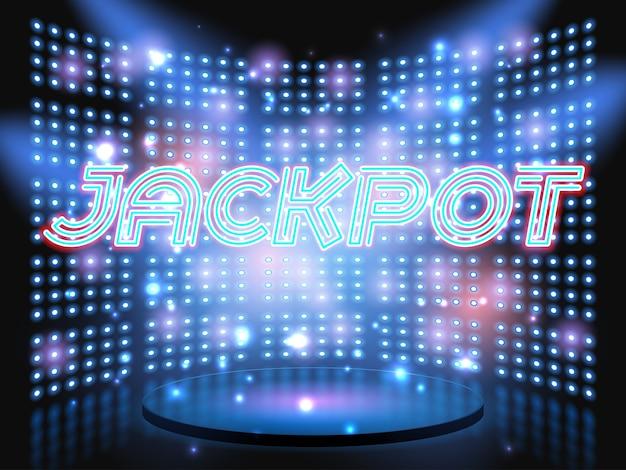 Kasyno Jackpot Wygrywa Scenę Na żywo Z Neonowym Napisem Na Tle Ze świecącą ścianą żarówki Premium Wektorów