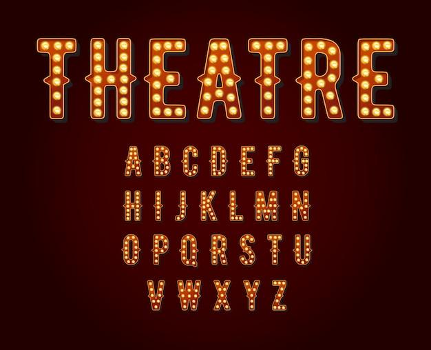 Kasyno lub broadway znaki w stylu żarówki alfabetu. Premium Wektorów
