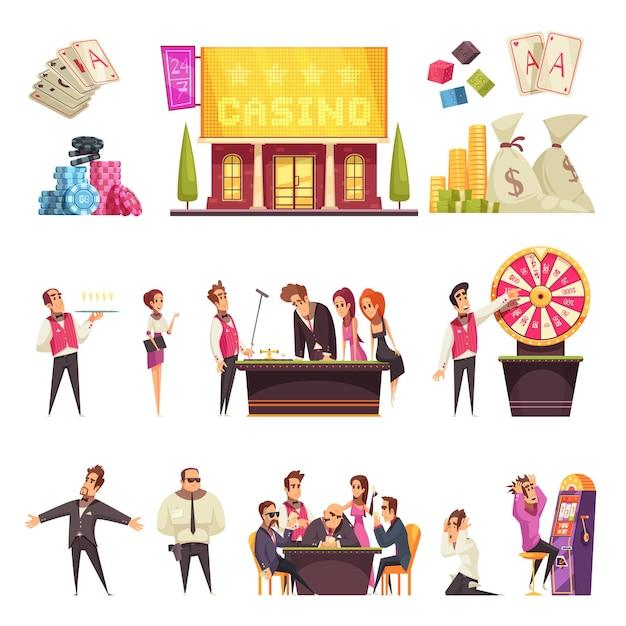 Kasyno Zestaw Na Białym Tle Kreskówek Ludzi W Stylu Hazardu Karty Budynku Domu I Stosy żetonów Darmowych Wektorów