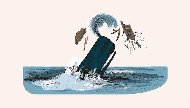Kaszalot Podczas Atakowania łodzi Rybackiej Darmowych Wektorów