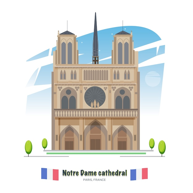 Katedra notre dame w paryżu - wektor Premium Wektorów