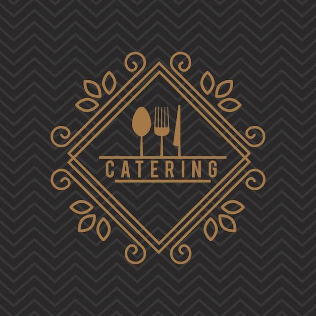 Katering pyszne jedzenie ikona Premium Wektorów