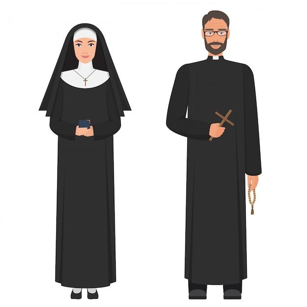 Katolicki Ksiądz I Zakonnica Premium Wektorów
