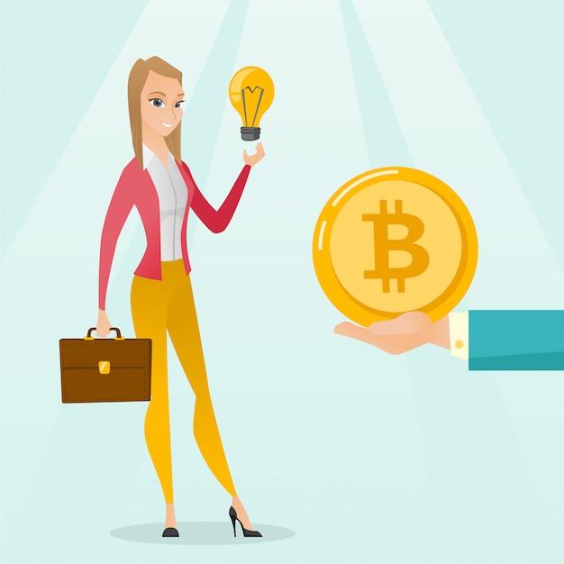 Kaukaska Kobieta Dostaje Monety Bitcoin Dla Zaczynać. Premium Wektorów