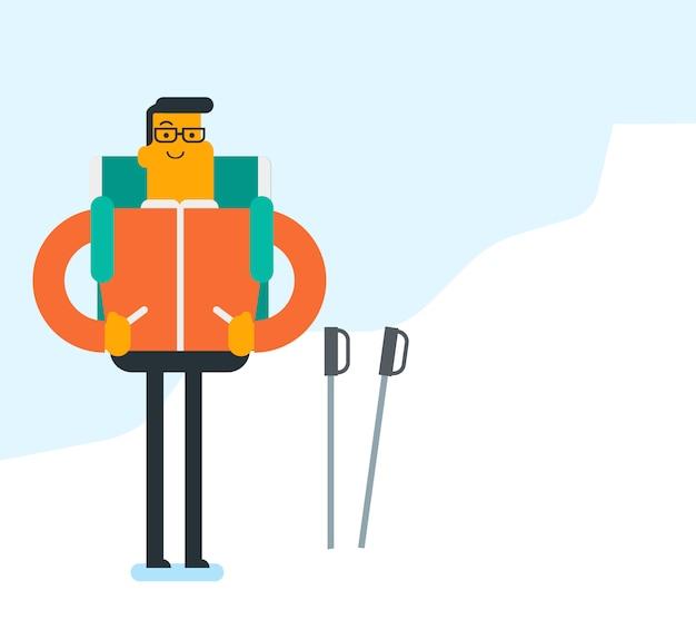 Kaukaski Alpinista Wspina Się Na śnieżną Granię. Premium Wektorów