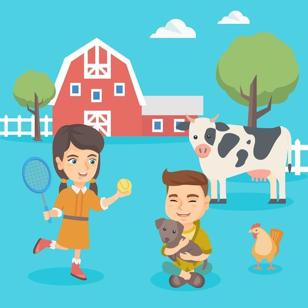 Kaukaskie aktywne dzieci bawiące się na podwórku. Premium Wektorów