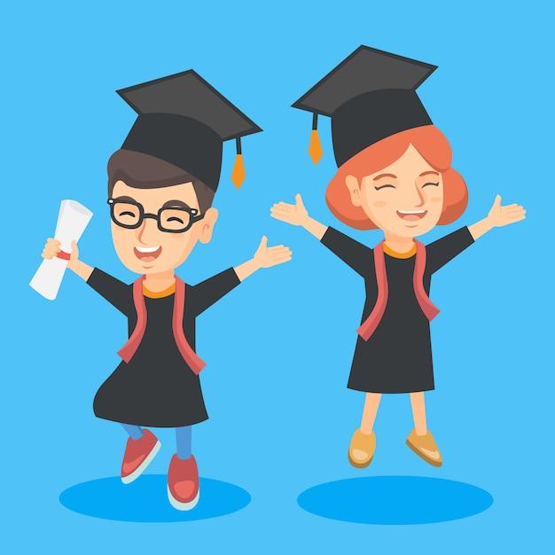 Kaukaskie dzieci z ukończeniem szkoły z dyplomem Premium Wektorów