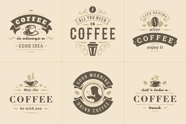 Kawa Cytuje Zestaw Ilustracji W Stylu Vintage Typograficzne Inspirujące Zwroty Premium Wektorów