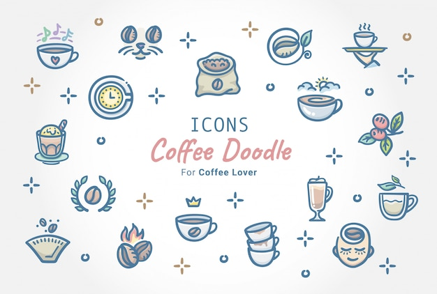 Kawa doodle zestaw ikon Premium Wektorów