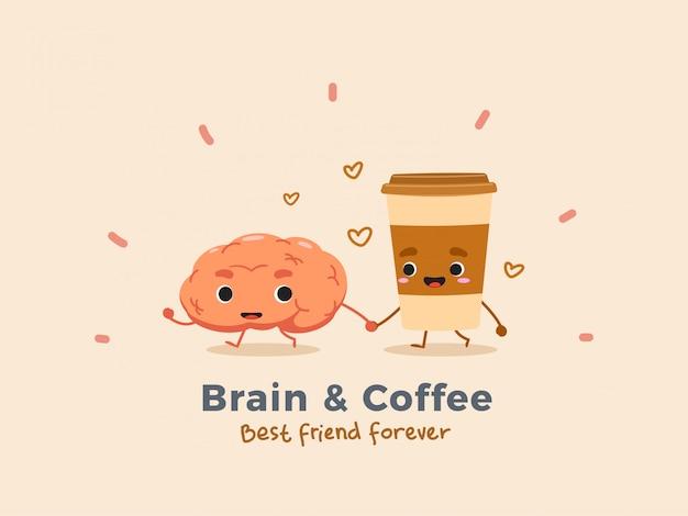 Kawa I Mózg. Odosobniony. Premium Wektorów
