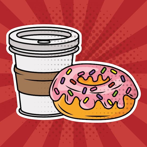 Kawa i pączki w stylu pop-art Darmowych Wektorów