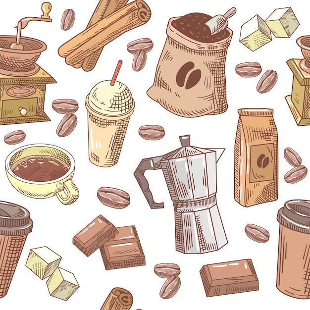 Kawa Ręcznie Rysowane Bezszwowe Tło Z Fasoli Premium Wektorów