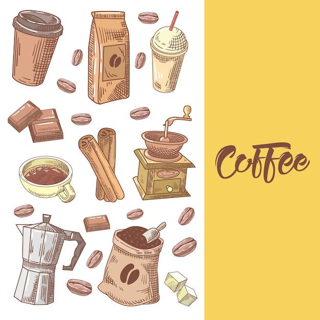 Kawa Ręcznie Rysowane Doodle Z Ziaren Kawy Premium Wektorów
