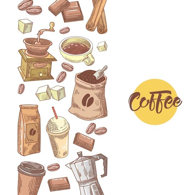 Kawa Ręcznie Rysowane Projekt Z Ziaren Kawy Premium Wektorów
