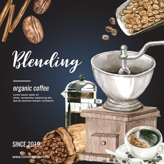 Kawa worek fasoli arabica z filiżanką kawy americano, cynamonowy ekspres do kawy akwarela ilustracji Darmowych Wektorów