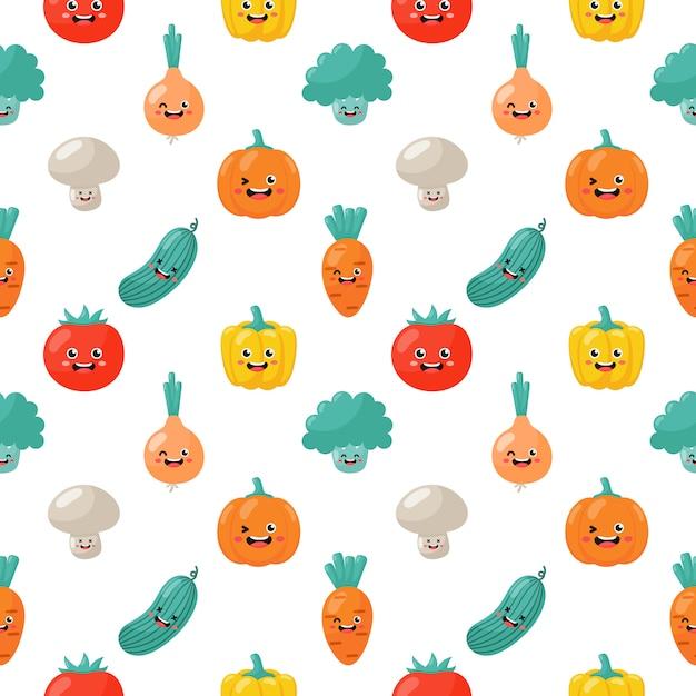 Kawaii Bezszwowe Wzór Słodkie śmieszne Kreskówka Warzyw Znaków Na Białym Tle Premium Wektorów