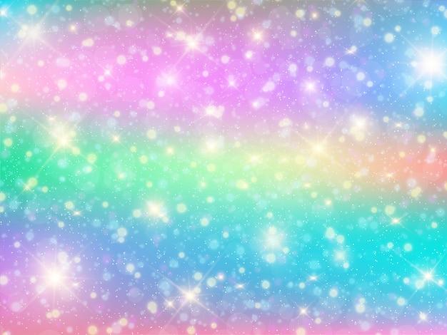 Kawaii Bokeh Tło Z Tęczy Princess Premium Wektorów