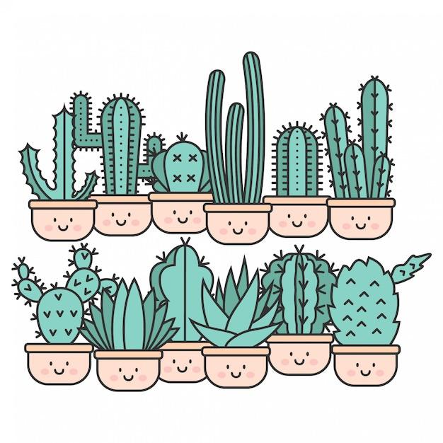 Kawaii cute cactus hand drawn Premium Wektorów