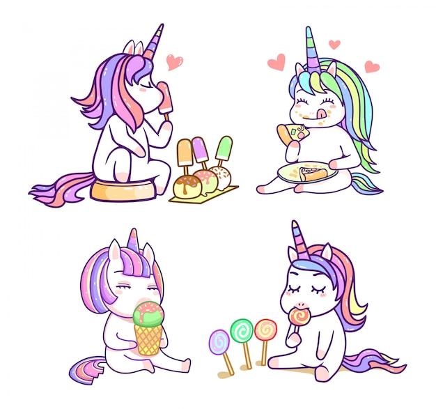 Kawaii Cute Jednorożca Przyjaciół O Słodkim Deserowym Pastelowym Kolorze, Szczęśliwy Zestaw Kreskówek Premium Wektorów