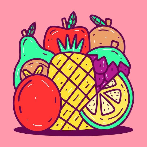 Kawaii Doodle Fruit S Szablon Premium Wektorów