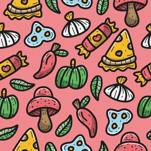 Kawaii Doodle Ilustracja Kreskówka Wzór Pizzy Premium Wektorów