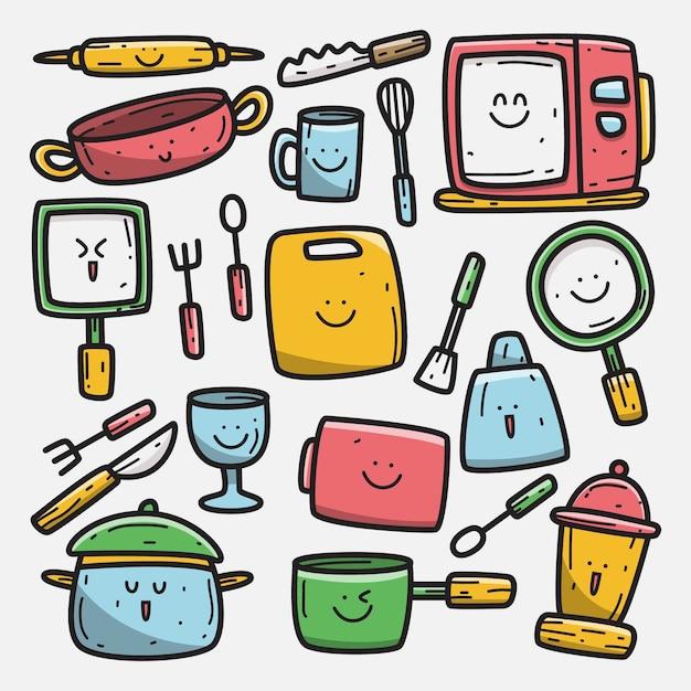 Kawaii Doodle Kreskówka Projekt Narzędzia Do Gotowania Ilustracja Premium Wektorów