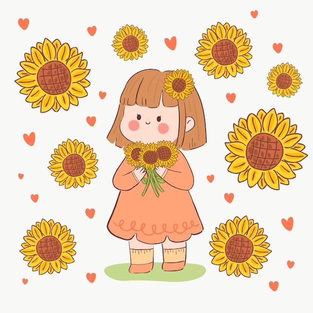 Kawaii Dziewczyna Ze Słonecznikami W Dłoniach Darmowych Wektorów