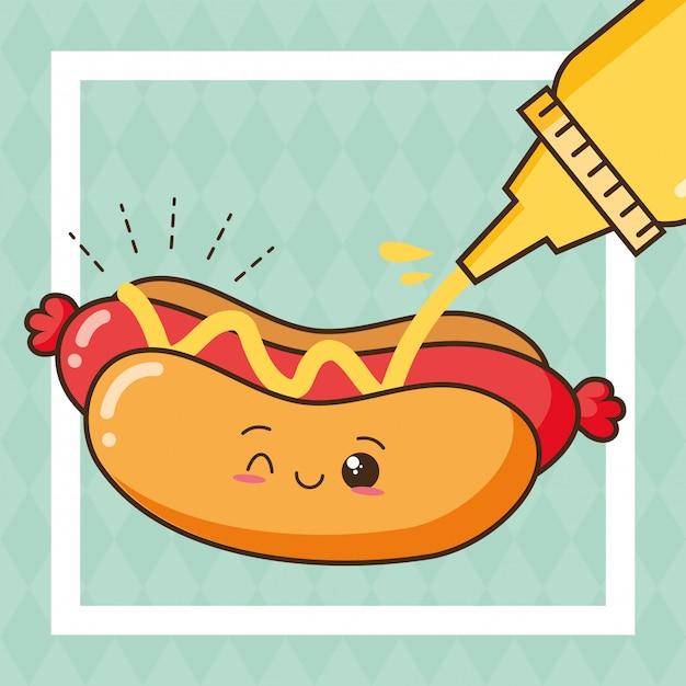 Kawaii fasta food śliczny hot dog z musztardy ilustracją Darmowych Wektorów
