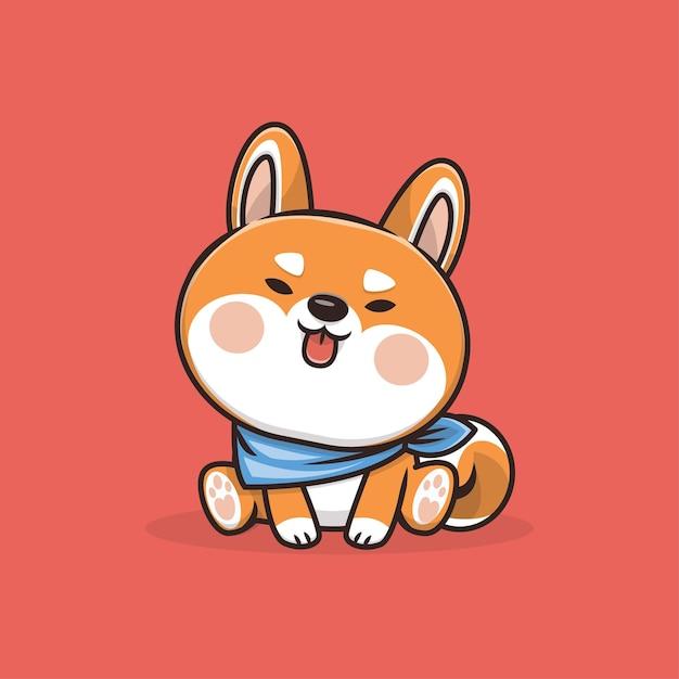 Kawaii Ilustracja ładny Pies Premium Wektorów