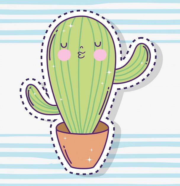 Kawaii kaktus roślin naklejki wewnątrz doniczka Premium Wektorów