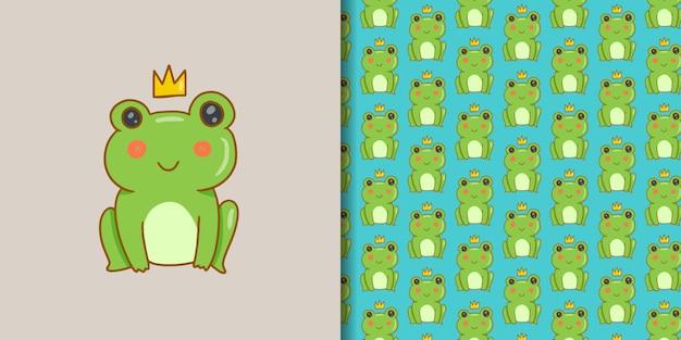 Kawaii King Frog Premium Wektorów