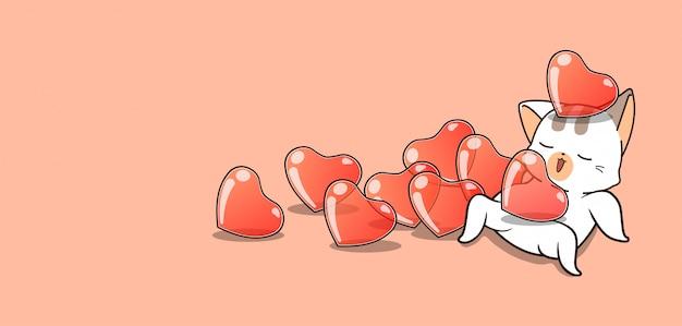 Kawaii Kot I Dużo Serc Na Walentynki Premium Wektorów